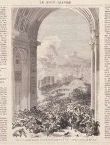 Obus sous l'arc de Triomphe, le Monde illustré, 15 avril 1871