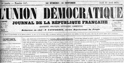L'Union démocratique (Nantes), numéro du 27 avril 1871